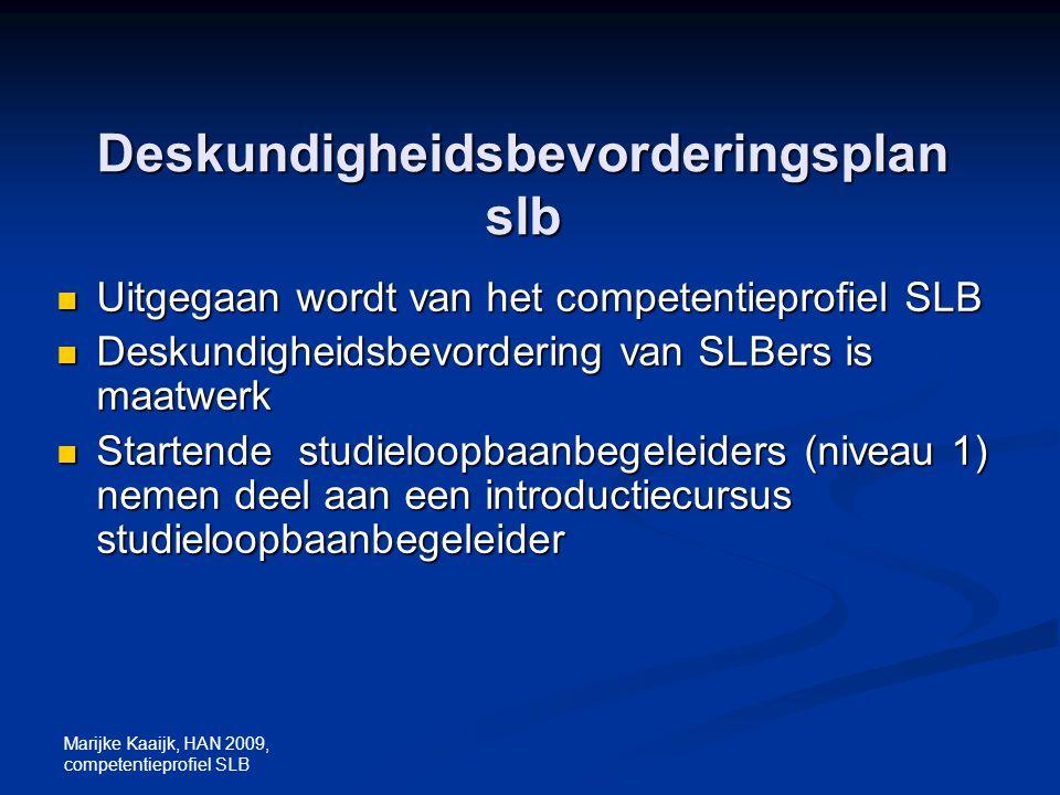 Marijke Kaaijk, HAN 2009, competentieprofiel SLB Deskundigheidsbevorderingsplan slb Uitgegaan wordt van het competentieprofiel SLB Uitgegaan wordt van