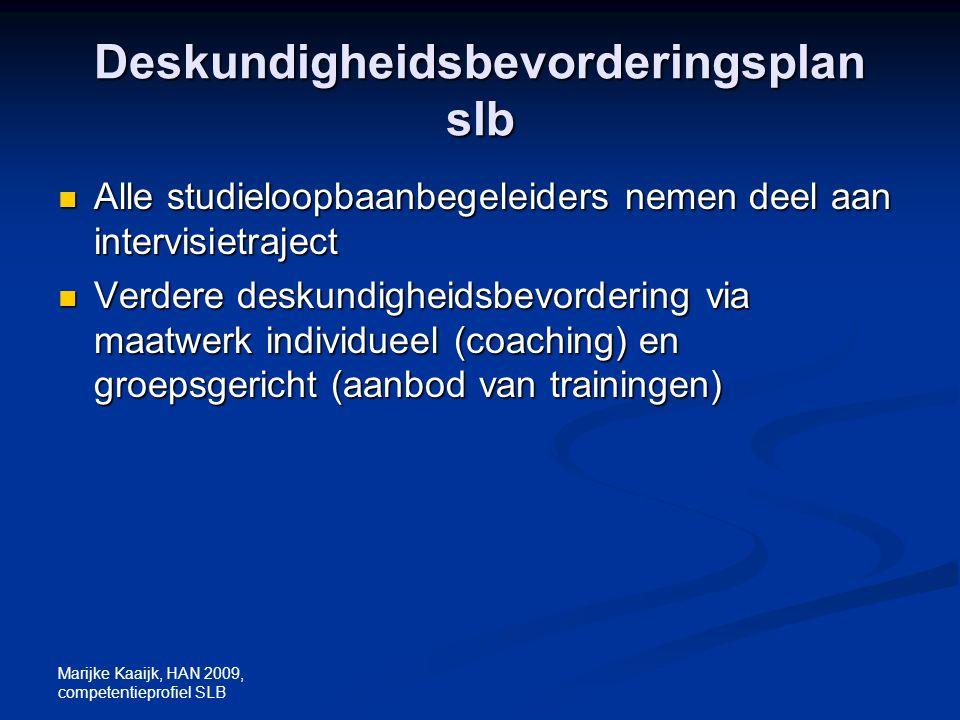 Marijke Kaaijk, HAN 2009, competentieprofiel SLB Deskundigheidsbevorderingsplan slb Alle studieloopbaanbegeleiders nemen deel aan intervisietraject Al