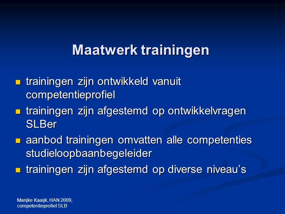 Marijke Kaaijk, HAN 2009, competentieprofiel SLB Maatwerk trainingen trainingen zijn ontwikkeld vanuit competentieprofiel trainingen zijn ontwikkeld v