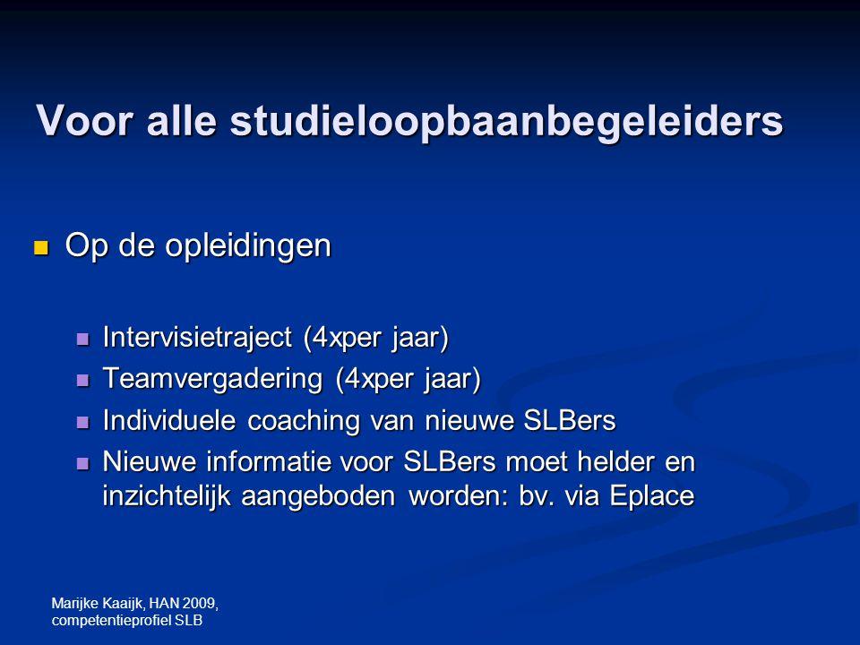 Marijke Kaaijk, HAN 2009, competentieprofiel SLB Voor alle studieloopbaanbegeleiders Op de opleidingen Op de opleidingen Intervisietraject (4xper jaar