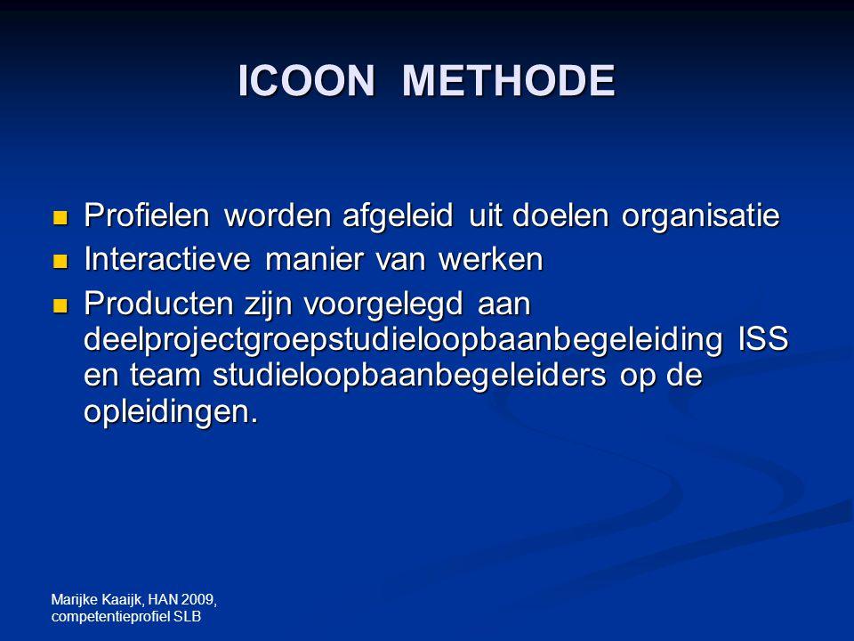 Marijke Kaaijk, HAN 2009, competentieprofiel SLB ICOON METHODE Profielen worden afgeleid uit doelen organisatie Profielen worden afgeleid uit doelen o