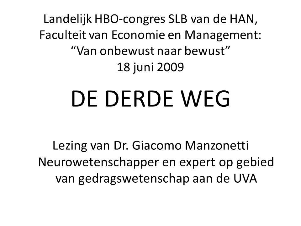 """Landelijk HBO-congres SLB van de HAN, Faculteit van Economie en Management: """"Van onbewust naar bewust"""" 18 juni 2009 DE DERDE WEG Lezing van Dr. Giacom"""