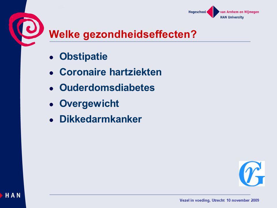 Vezel in voeding, Utrecht 10 november 2009 Welke gezondheidseffecten? Obstipatie Coronaire hartziekten Ouderdomsdiabetes Overgewicht Dikkedarmkanker