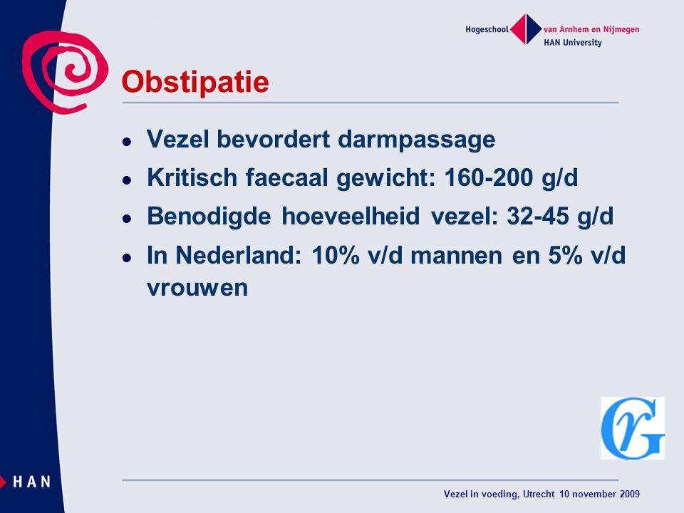 Vezel in voeding, Utrecht 10 november 2009 Obstipatie Vezel bevordert darmpassage Kritisch faecaal gewicht: 160-200 g/d Benodigde hoeveelheid vezel: 32-45 g/d In Nederland: 10% v/d mannen en 5% v/d vrouwen