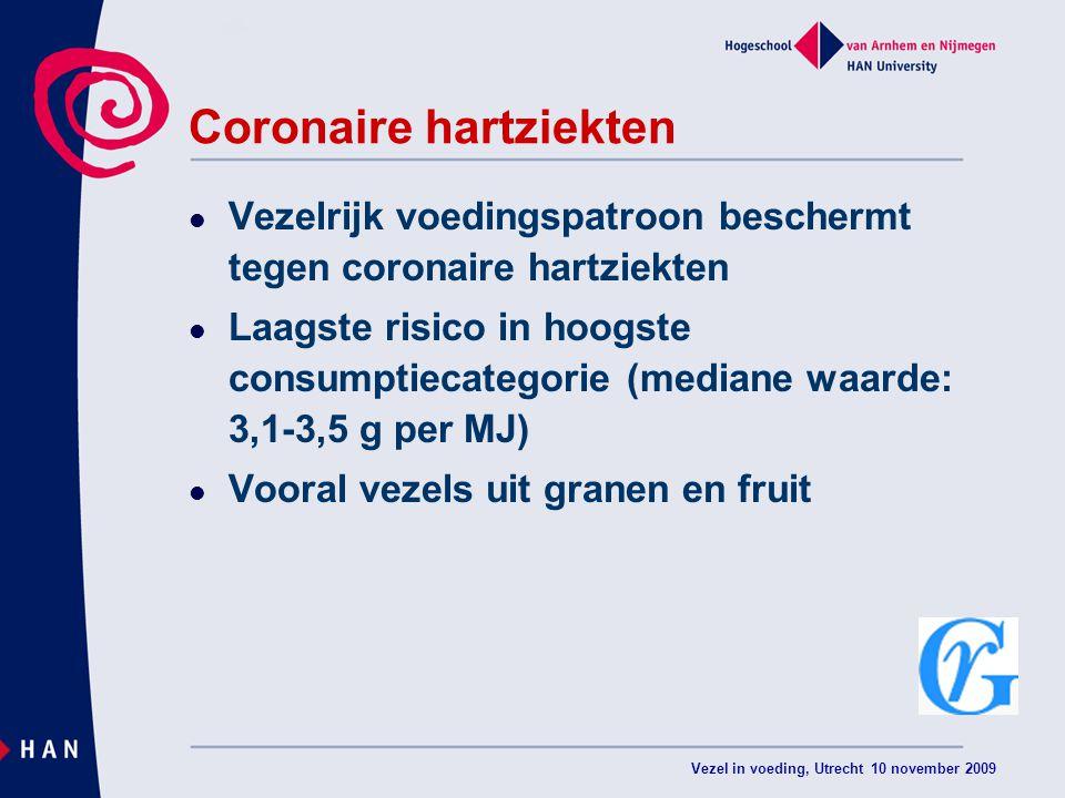 Vezel in voeding, Utrecht 10 november 2009 Coronaire hartziekten Vezelrijk voedingspatroon beschermt tegen coronaire hartziekten Laagste risico in hoogste consumptiecategorie (mediane waarde: 3,1-3,5 g per MJ) Vooral vezels uit granen en fruit