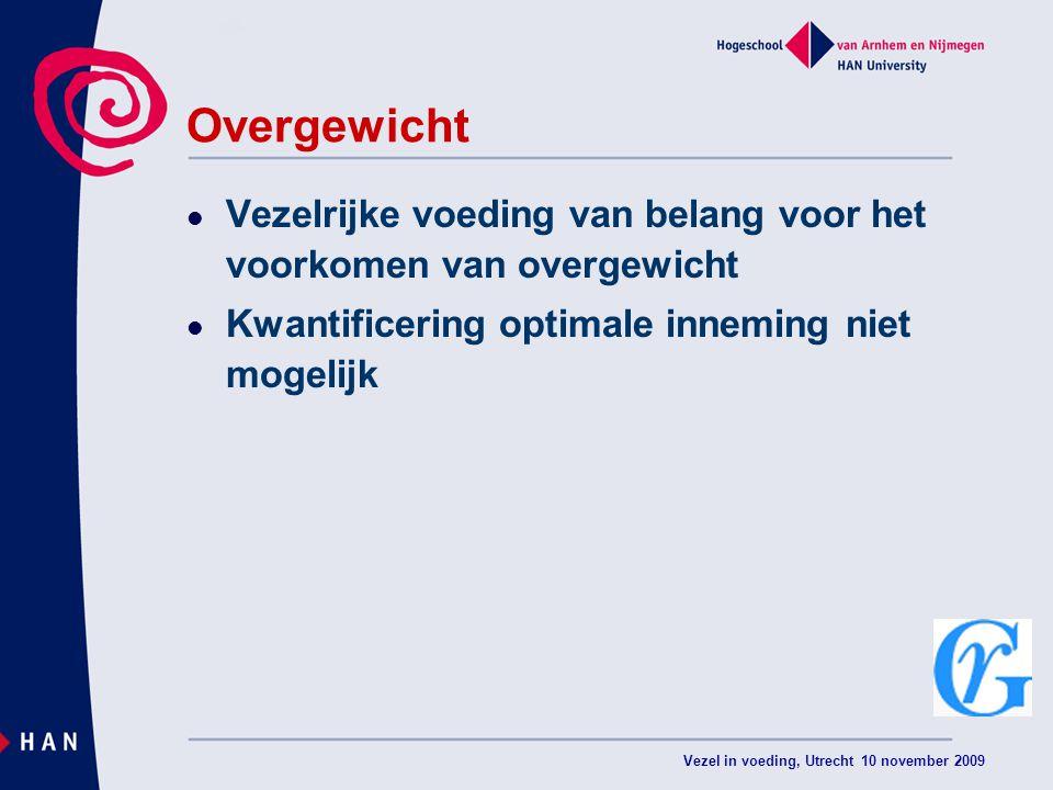 Vezel in voeding, Utrecht 10 november 2009 Overgewicht Vezelrijke voeding van belang voor het voorkomen van overgewicht Kwantificering optimale inneming niet mogelijk