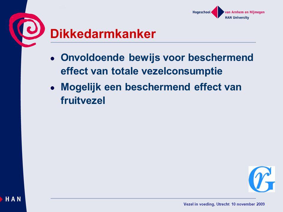 Vezel in voeding, Utrecht 10 november 2009 Dikkedarmkanker Onvoldoende bewijs voor beschermend effect van totale vezelconsumptie Mogelijk een beschermend effect van fruitvezel