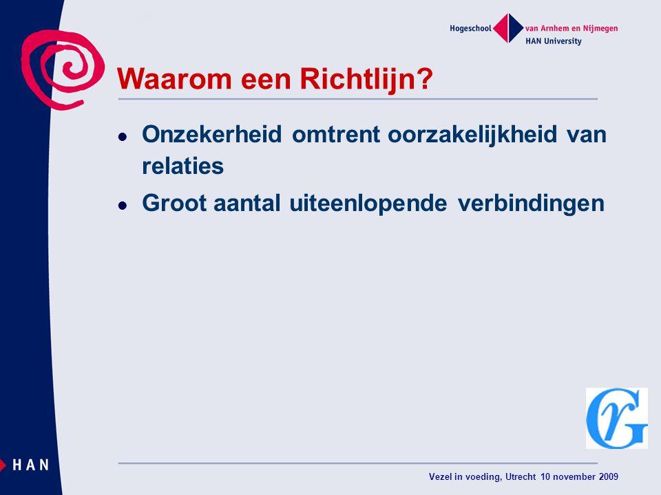 Vezel in voeding, Utrecht 10 november 2009 Waarom een Richtlijn.
