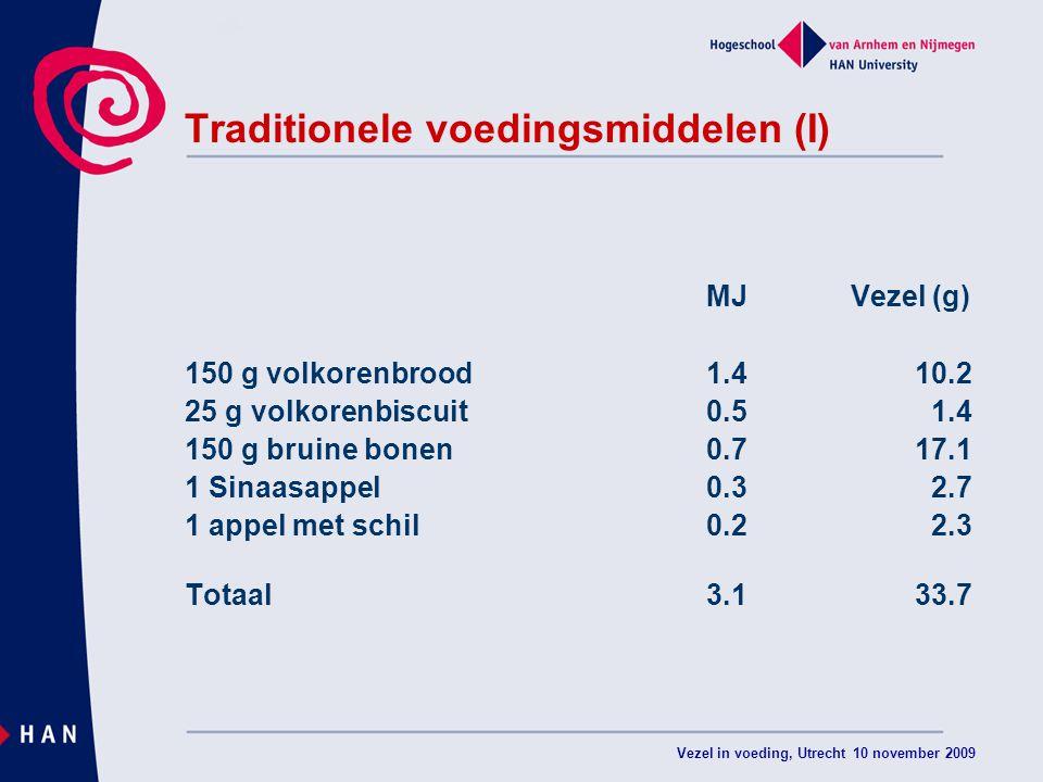 Vezel in voeding, Utrecht 10 november 2009 Traditionele voedingsmiddelen (I) MJ Vezel (g) 150 g volkorenbrood1.410.2 25 g volkorenbiscuit0.5 1.4 150 g bruine bonen0.717.1 1 Sinaasappel0.3 2.7 1 appel met schil0.2 2.3 Totaal3.133.7