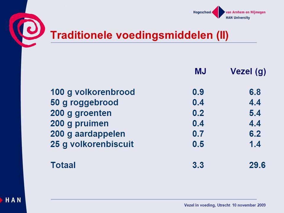 Vezel in voeding, Utrecht 10 november 2009 Traditionele voedingsmiddelen (II) MJ Vezel (g) 100 g volkorenbrood 0.96.8 50 g roggebrood0.44.4 200 g groenten0.25.4 200 g pruimen0.44.4 200 g aardappelen0.76.2 25 g volkorenbiscuit0.51.4 Totaal3.329.6