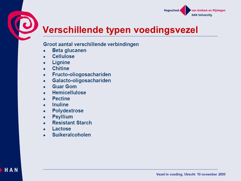 Vezel in voeding, Utrecht 10 november 2009 Verschillende typen voedingsvezel Groot aantal verschillende verbindingen Beta glucanen Cellulose Lignine C