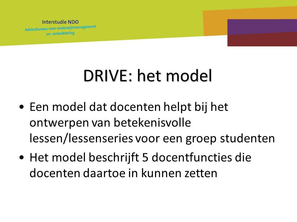 DRIVE: het model Een model dat docenten helpt bij het ontwerpen van betekenisvolle lessen/lessenseries voor een groep studenten Het model beschrijft 5 docentfuncties die docenten daartoe in kunnen zetten