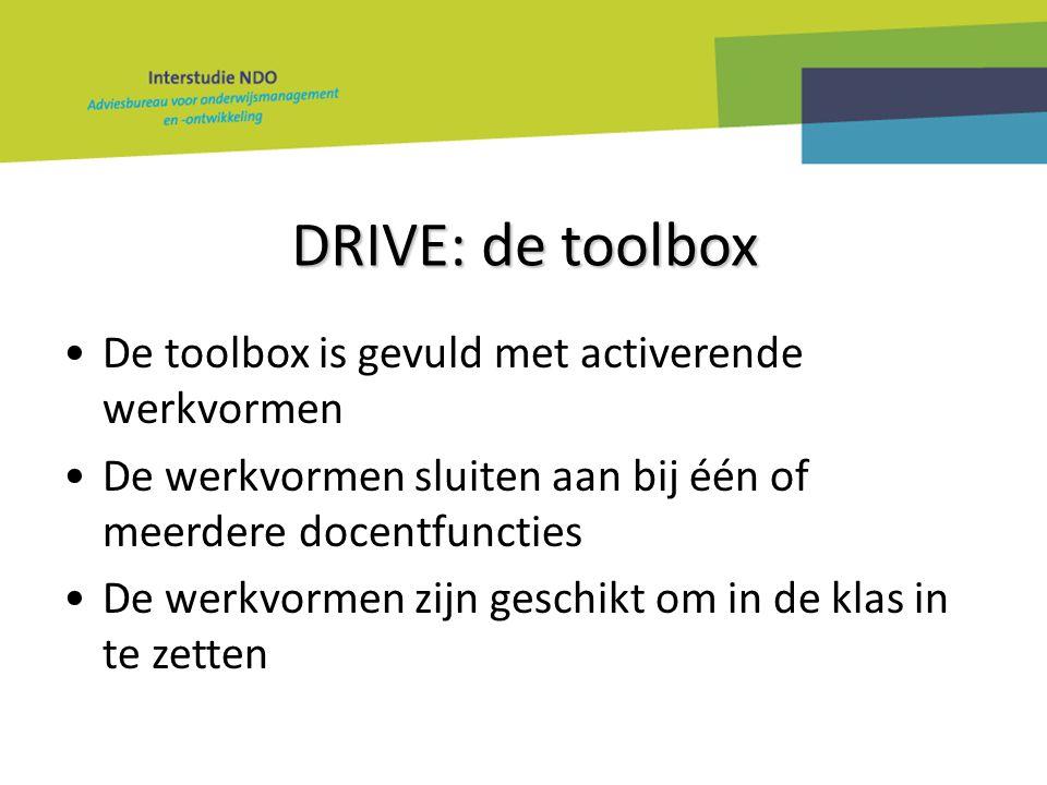 DRIVE: de toolbox De toolbox is gevuld met activerende werkvormen De werkvormen sluiten aan bij één of meerdere docentfuncties De werkvormen zijn gesc