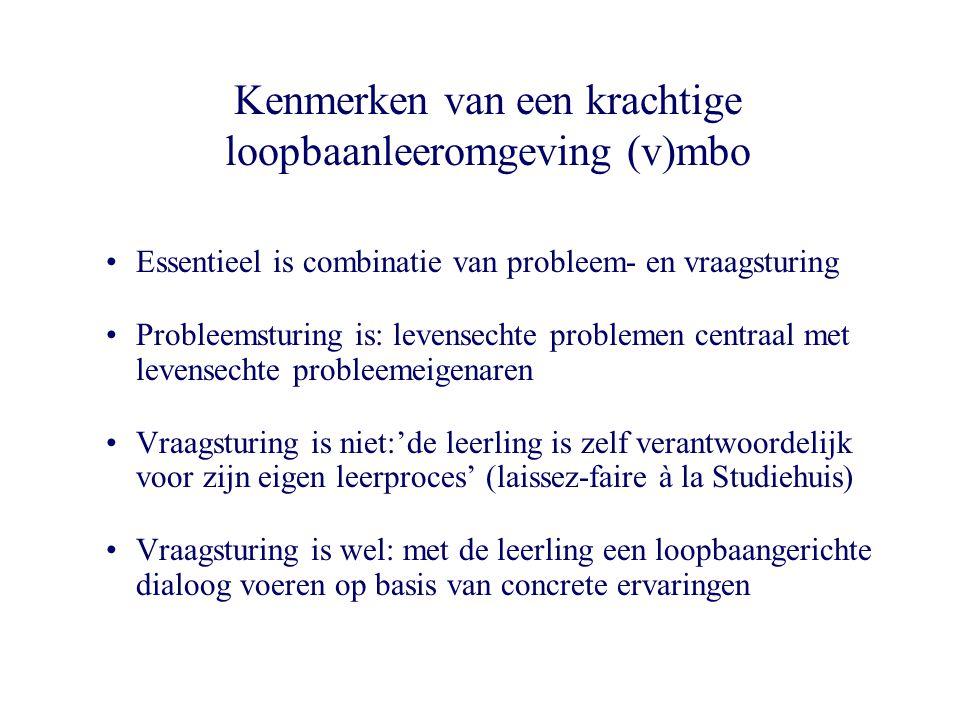 VMBO-groepen: 87 MBO-bol: 98 MBO-bbl: 41 theorie (score > 3.5) Loopbaangerichte leeromgeving (v)mbo