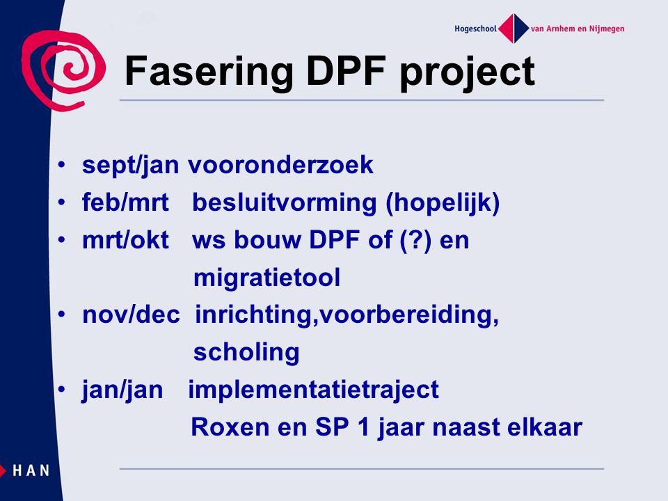 Fasering DPF project sept/jan vooronderzoek feb/mrt besluitvorming (hopelijk) mrt/okt ws bouw DPF of (?) en migratietool nov/dec inrichting,voorbereid