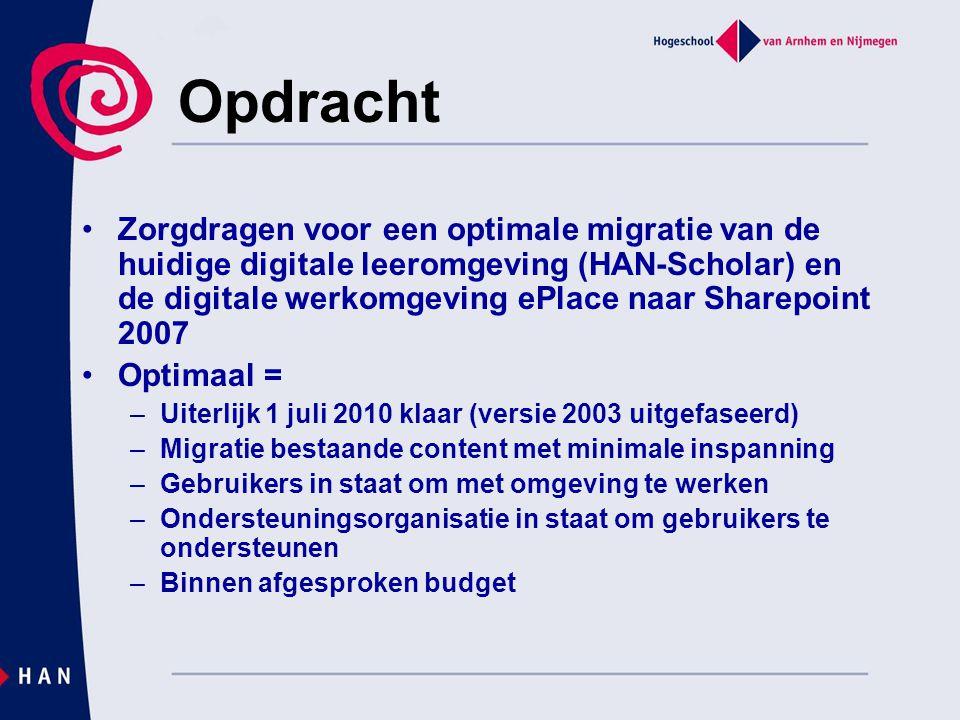 Opdracht Zorgdragen voor een optimale migratie van de huidige digitale leeromgeving (HAN-Scholar) en de digitale werkomgeving ePlace naar Sharepoint 2