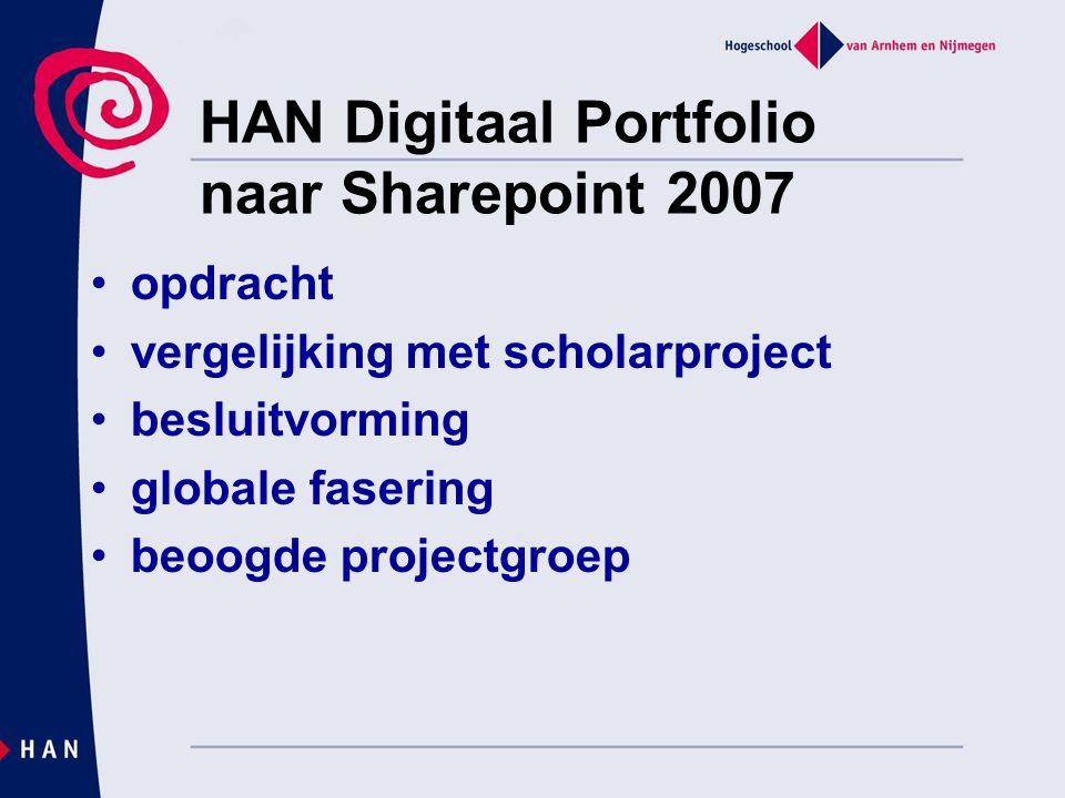 HAN Digitaal Portfolio naar Sharepoint 2007 opdracht vergelijking met scholarproject besluitvorming globale fasering beoogde projectgroep