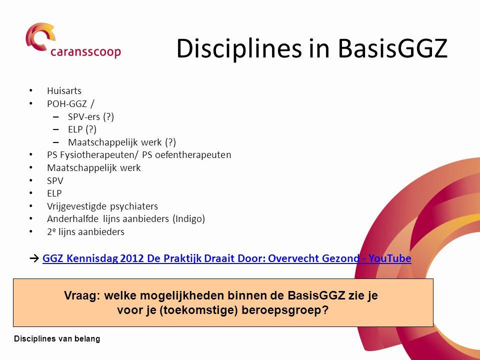 Disciplines in BasisGGZ Huisarts POH-GGZ / – SPV-ers (?) – ELP (?) – Maatschappelijk werk (?) PS Fysiotherapeuten/ PS oefentherapeuten Maatschappelijk