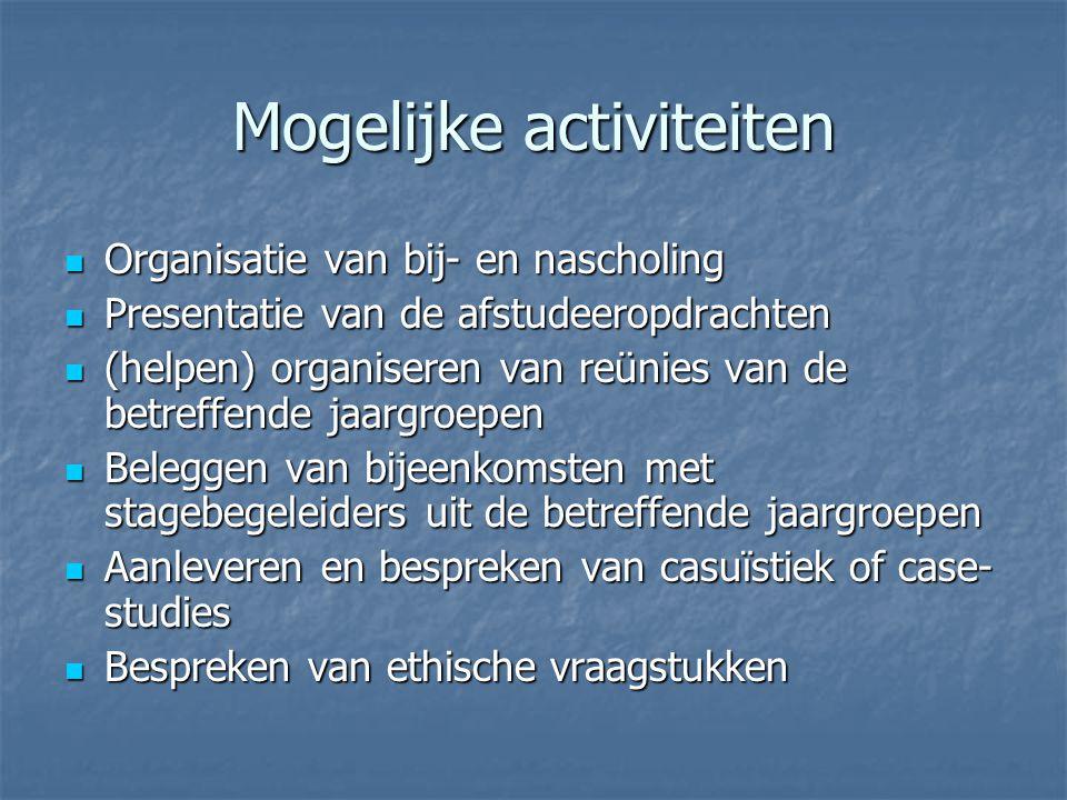 Mogelijke activiteiten Organisatie van bij- en nascholing Organisatie van bij- en nascholing Presentatie van de afstudeeropdrachten Presentatie van de afstudeeropdrachten (helpen) organiseren van reünies van de betreffende jaargroepen (helpen) organiseren van reünies van de betreffende jaargroepen Beleggen van bijeenkomsten met stagebegeleiders uit de betreffende jaargroepen Beleggen van bijeenkomsten met stagebegeleiders uit de betreffende jaargroepen Aanleveren en bespreken van casuïstiek of case- studies Aanleveren en bespreken van casuïstiek of case- studies Bespreken van ethische vraagstukken Bespreken van ethische vraagstukken