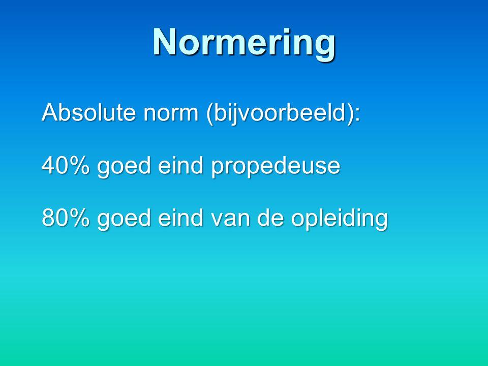 Normering Absolute norm (bijvoorbeeld): 40% goed eind propedeuse 80% goed eind van de opleiding
