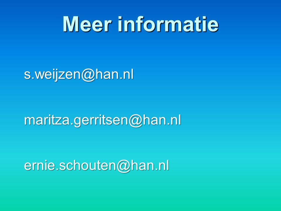 Meer informatie s.weijzen@han.nlmaritza.gerritsen@han.nlernie.schouten@han.nl