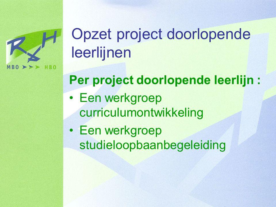 Opzet project doorlopende leerlijnen Per project doorlopende leerlijn : Een werkgroep curriculumontwikkeling Een werkgroep studieloopbaanbegeleiding
