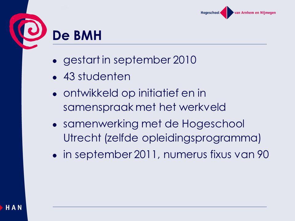 De BMH gestart in september 2010 43 studenten ontwikkeld op initiatief en in samenspraak met het werkveld samenwerking met de Hogeschool Utrecht (zelfde opleidingsprogramma) in september 2011, numerus fixus van 90