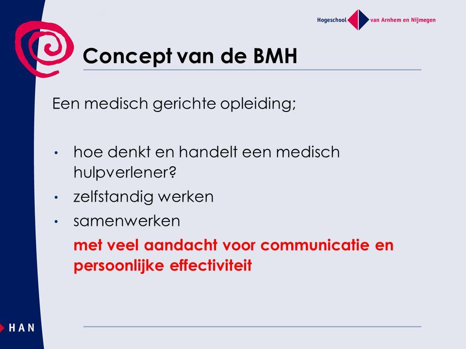 Concept van de BMH Een medisch gerichte opleiding; hoe denkt en handelt een medisch hulpverlener.