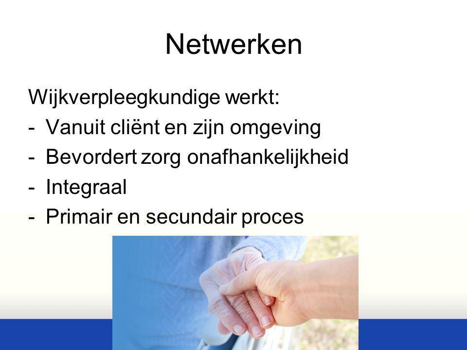 Netwerken Wijkverpleegkundige werkt: -Vanuit cliënt en zijn omgeving -Bevordert zorg onafhankelijkheid -Integraal -Primair en secundair proces