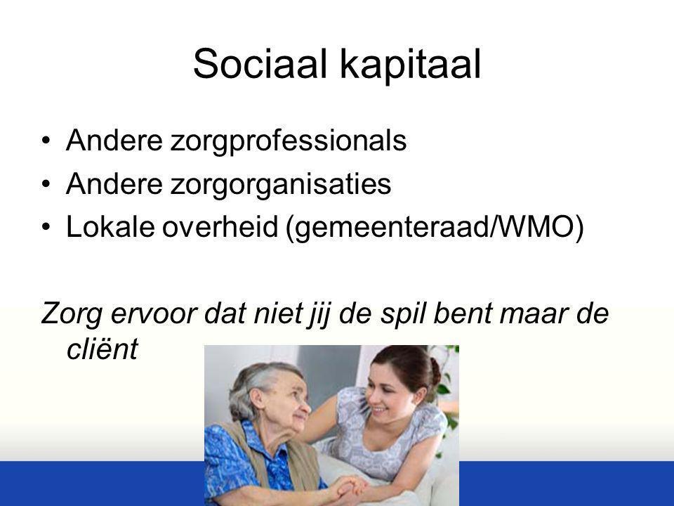 Sociaal kapitaal Andere zorgprofessionals Andere zorgorganisaties Lokale overheid (gemeenteraad/WMO) Zorg ervoor dat niet jij de spil bent maar de cli