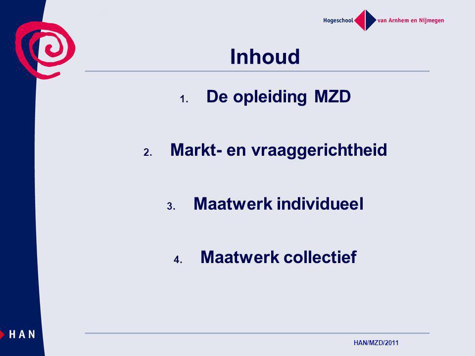 Inhoud 1. De opleiding MZD 2. Markt- en vraaggerichtheid 3.
