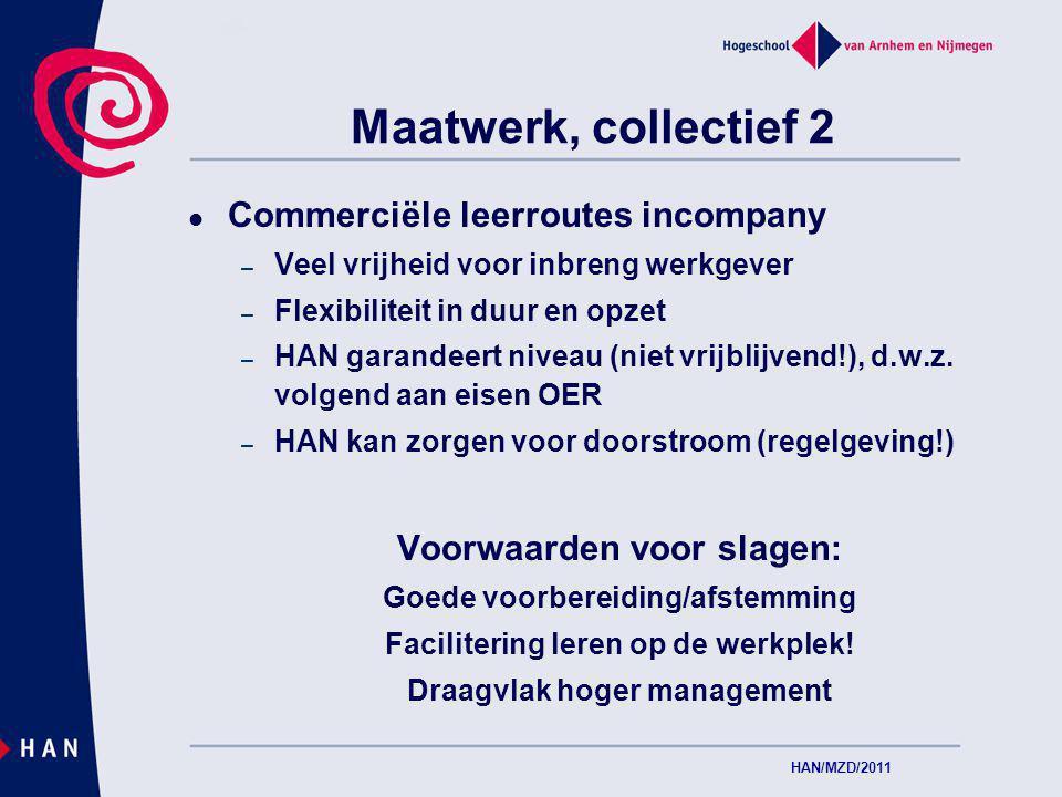 Maatwerk, collectief 2 Commerciële leerroutes incompany – Veel vrijheid voor inbreng werkgever – Flexibiliteit in duur en opzet – HAN garandeert niveau (niet vrijblijvend!), d.w.z.