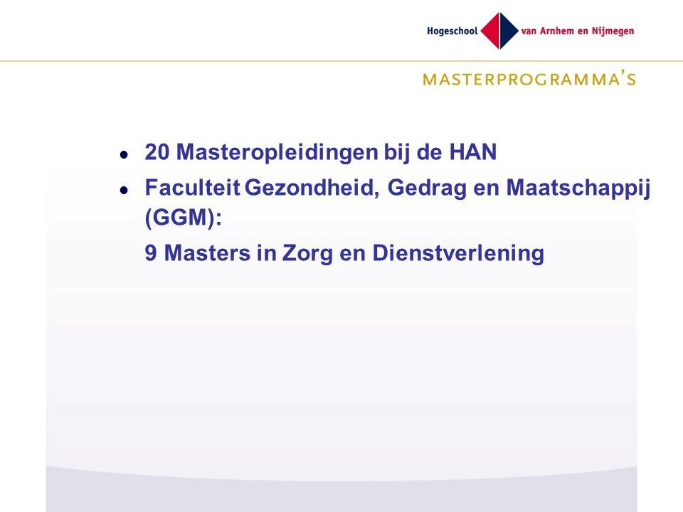 20 Masteropleidingen bij de HAN Faculteit Gezondheid, Gedrag en Maatschappij (GGM): 9 Masters in Zorg en Dienstverlening