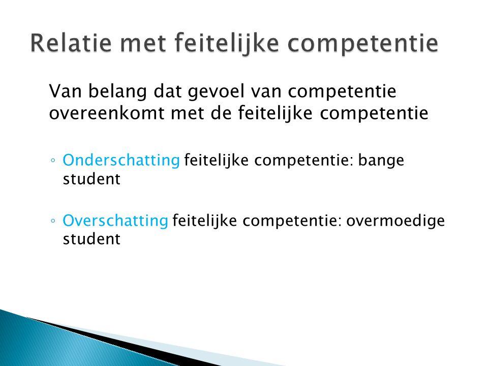 Van belang dat gevoel van competentie overeenkomt met de feitelijke competentie ◦ Onderschatting feitelijke competentie: bange student ◦ Overschatting feitelijke competentie: overmoedige student