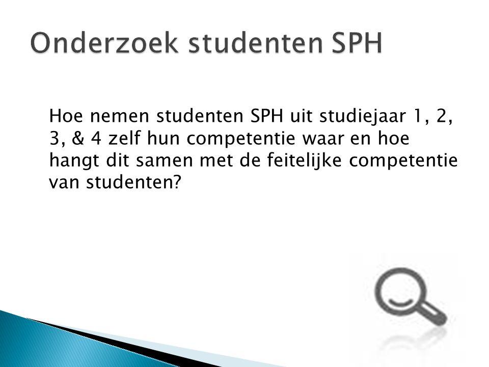 Hoe nemen studenten SPH uit studiejaar 1, 2, 3, & 4 zelf hun competentie waar en hoe hangt dit samen met de feitelijke competentie van studenten