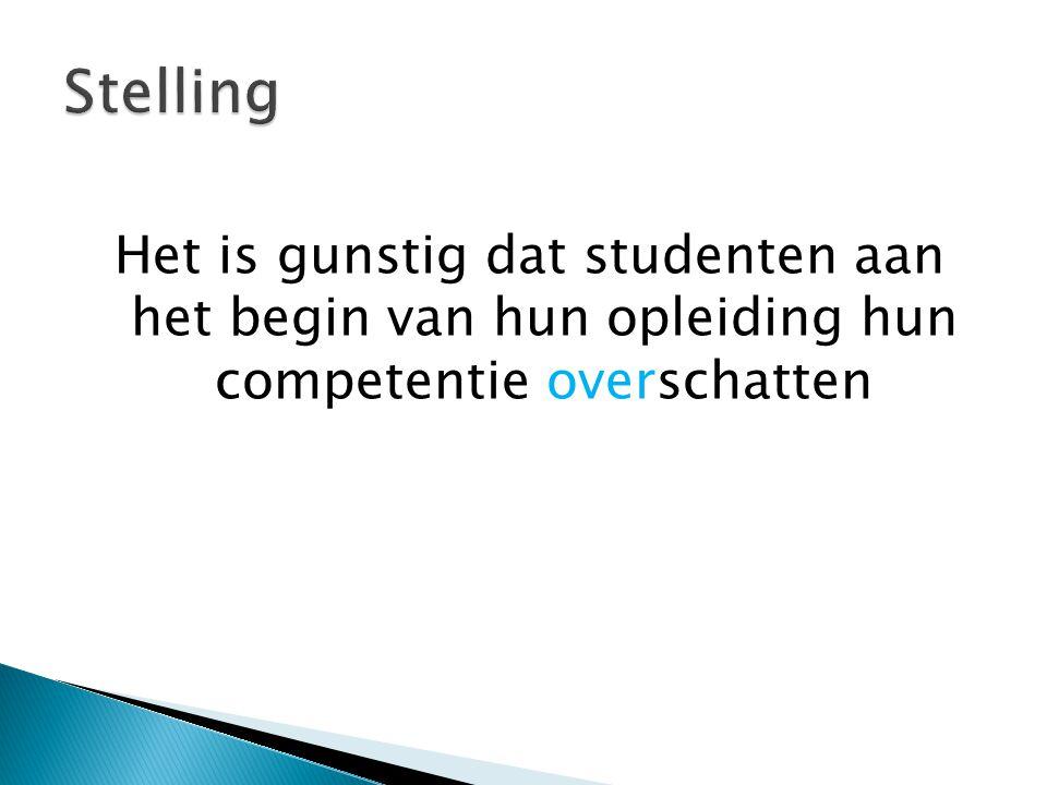 Het is gunstig dat studenten aan het begin van hun opleiding hun competentie overschatten