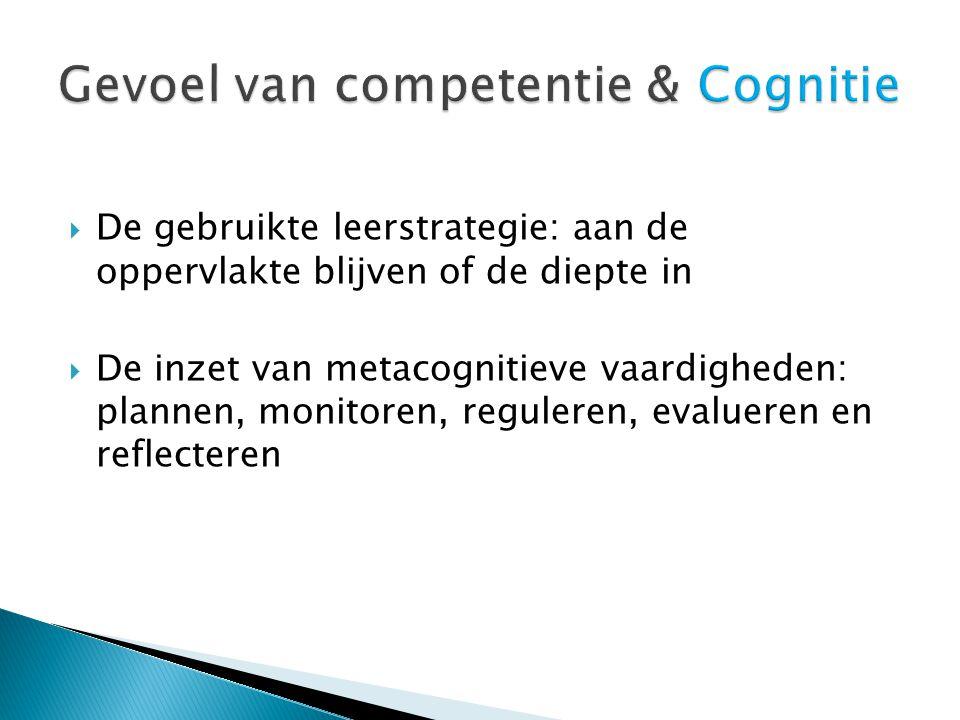  De gebruikte leerstrategie: aan de oppervlakte blijven of de diepte in  De inzet van metacognitieve vaardigheden: plannen, monitoren, reguleren, evalueren en reflecteren