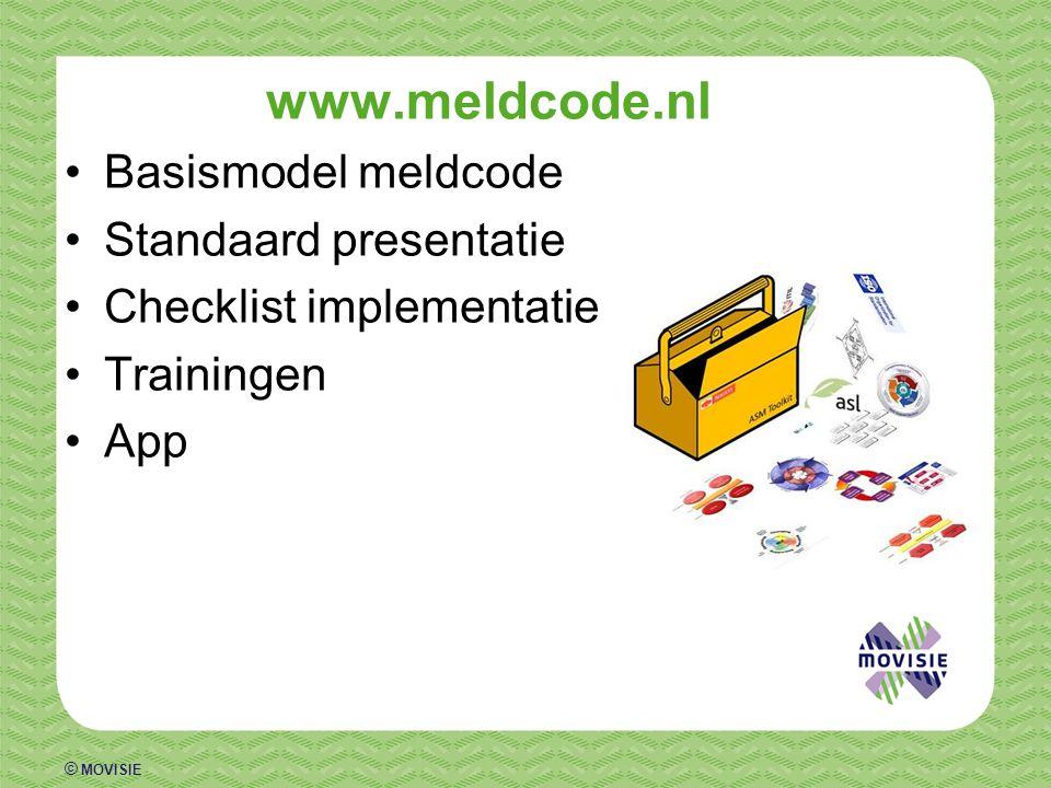© MOVISIE www.meldcode.nl Basismodel meldcode Standaard presentatie Checklist implementatie Trainingen App