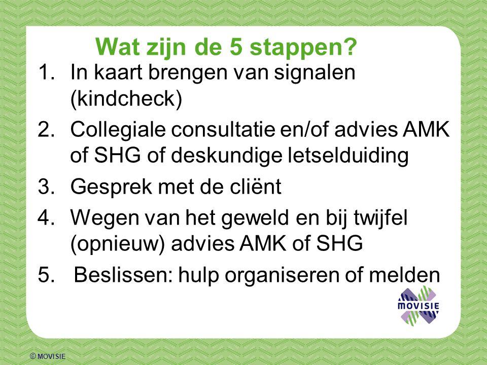 © MOVISIE Wat zijn de 5 stappen? 1.In kaart brengen van signalen (kindcheck) 2.Collegiale consultatie en/of advies AMK of SHG of deskundige letselduid