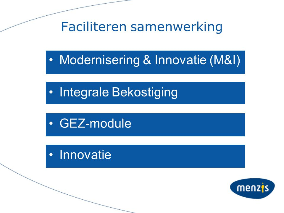 Faciliteren samenwerking Modernisering & Innovatie (M&I) Integrale Bekostiging GEZ-module Innovatie