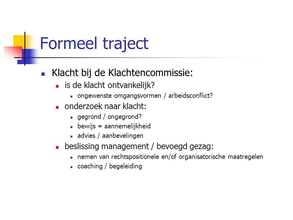 Formeel traject Klacht bij de Klachtencommissie: is de klacht ontvankelijk? ongewenste omgangsvormen / arbeidsconflict? onderzoek naar klacht: gegrond