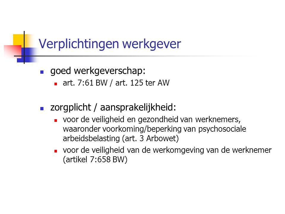 Verplichtingen werkgever goed werkgeverschap: art. 7:61 BW / art. 125 ter AW zorgplicht / aansprakelijkheid: voor de veiligheid en gezondheid van werk