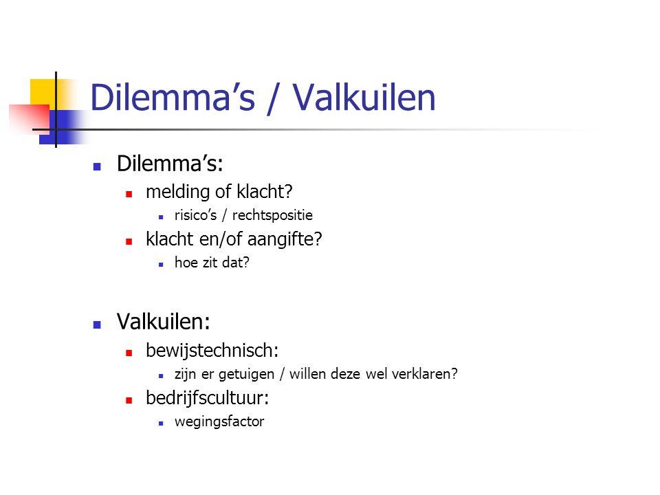 Dilemma's / Valkuilen Dilemma's: melding of klacht? risico's / rechtspositie klacht en/of aangifte? hoe zit dat? Valkuilen: bewijstechnisch: zijn er g