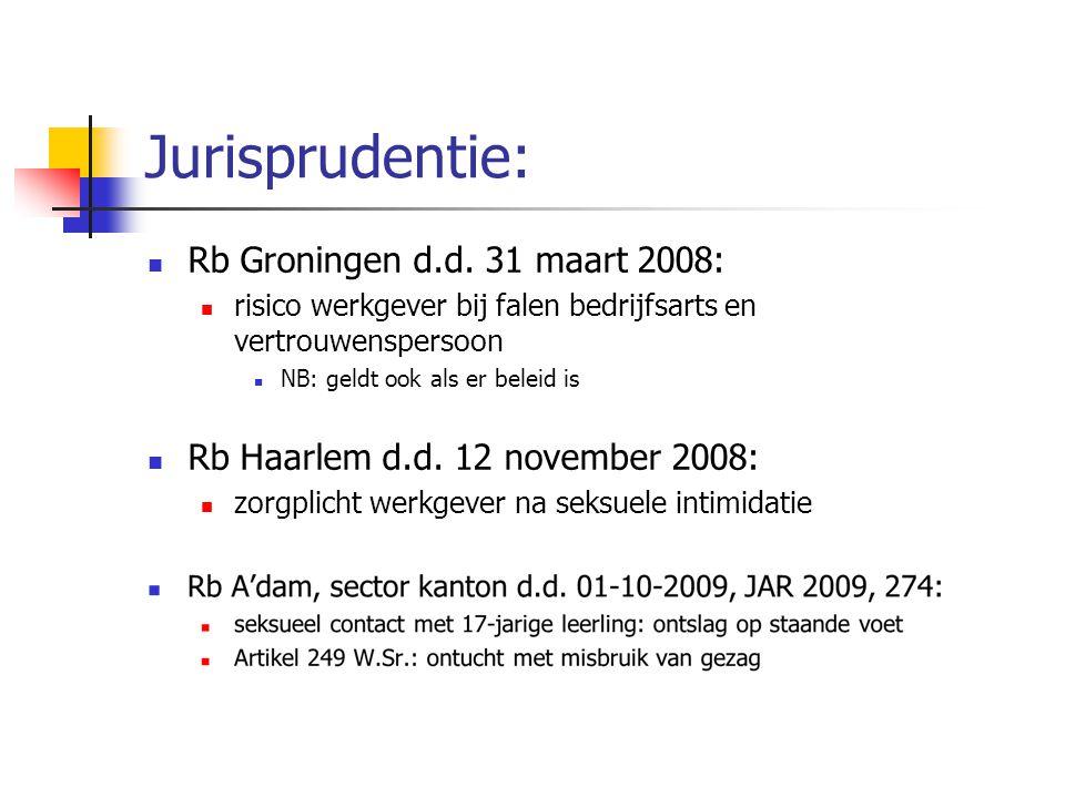 Jurisprudentie: Rb Groningen d.d. 31 maart 2008: risico werkgever bij falen bedrijfsarts en vertrouwenspersoon NB: geldt ook als er beleid is Rb Haarl