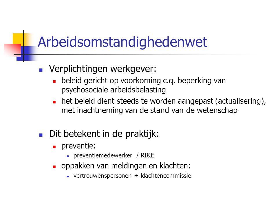 Arbeidsomstandighedenwet Verplichtingen werkgever: beleid gericht op voorkoming c.q.