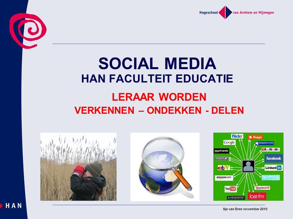 Social Media HAN Faculteit Educatie COMMUNITYMANAGEMENT COÖRDINATIE ONLINE PLATFORMS VERBINDT ONLINE / OFFLINE ONTWIKKELT DOORONTWIKKELING MONITORT, LEIDT EN BEGELEIDT DISCUSSIES BEMIDDELT / BEZWEERT CONFLICTEN IS EVANGELIST VAN DE COMMUNITY