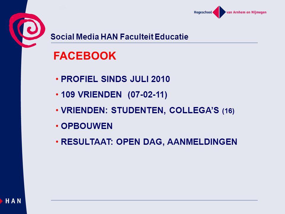 Social Media HAN Faculteit Educatie FACEBOOK PROFIEL SINDS JULI 2010 109 VRIENDEN (07-02-11) VRIENDEN: STUDENTEN, COLLEGA'S (16) OPBOUWEN RESULTAAT: OPEN DAG, AANMELDINGEN