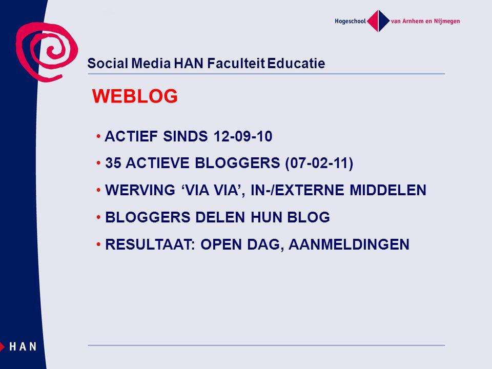 Social Media HAN Faculteit Educatie WEBLOG ACTIEF SINDS 12-09-10 35 ACTIEVE BLOGGERS (07-02-11) WERVING 'VIA VIA', IN-/EXTERNE MIDDELEN BLOGGERS DELEN HUN BLOG RESULTAAT: OPEN DAG, AANMELDINGEN