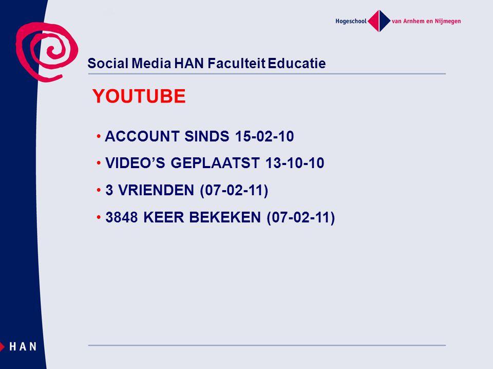 Social Media HAN Faculteit Educatie YOUTUBE ACCOUNT SINDS 15-02-10 VIDEO'S GEPLAATST 13-10-10 3 VRIENDEN (07-02-11) 3848 KEER BEKEKEN (07-02-11)
