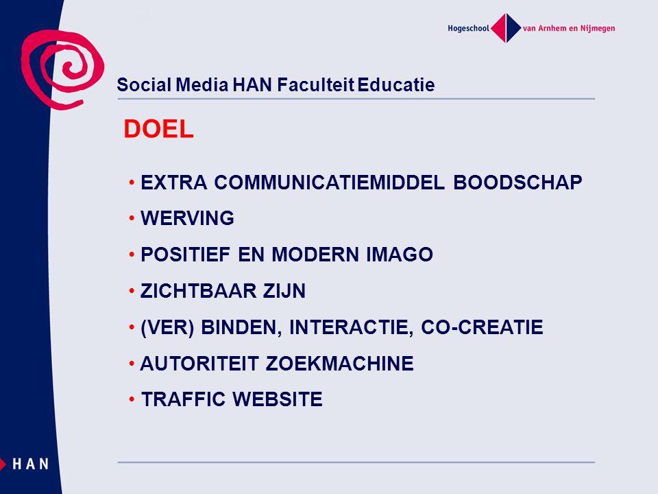 Social Media HAN Faculteit Educatie EXTRA COMMUNICATIEMIDDEL BOODSCHAP WERVING POSITIEF EN MODERN IMAGO ZICHTBAAR ZIJN (VER) BINDEN, INTERACTIE, CO-CREATIE AUTORITEIT ZOEKMACHINE TRAFFIC WEBSITE DOEL